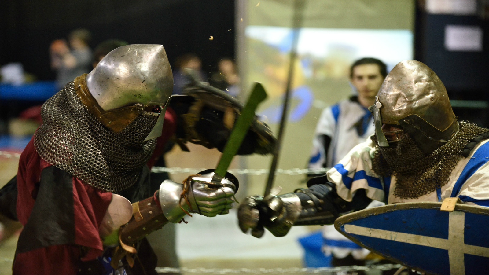 Participants resting after the World Medieval Fighting Championship -Israeli challenge, Jan. 23, 2016. Photo by Gili Yaari/FLASH90