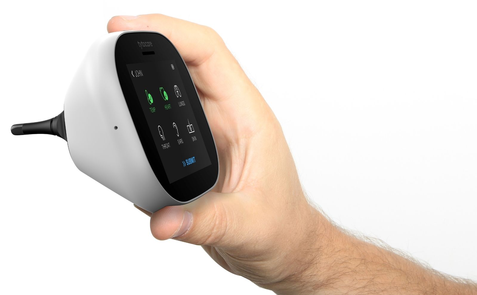 The home telemedicine device includes an integrated stethoscope, otoscope and computer-vision camera. Photo courtesy of TytoCare