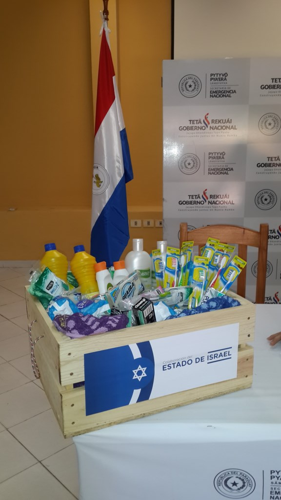 Boxes of donated supplies like this are being distributed to displaced Paraguayans through a donation from the Israeli embassy. Photo courtesy of the Israeli Embassy in Asuncion