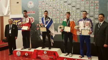 Israeli taekwondo athlete Ron Atias wins gold. Photo from worldtaekwondofederation.net