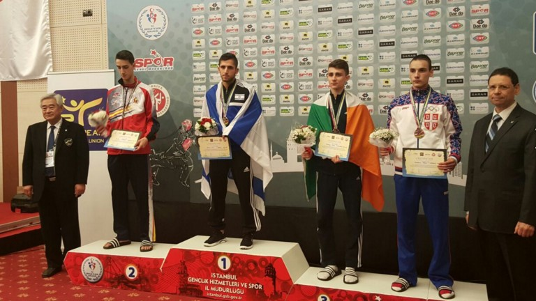 Israeli taekwondo athlete Ron Atias wins gold. Photo from worldtaekwondofederation.net