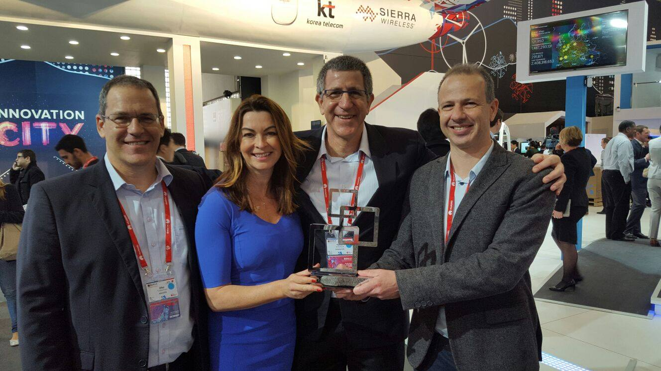 Anagog team celebrates  'Best Mobile Innovation in Automotive Award' at the 2016 Mobile World Congress in Barcelona. Photo via Facebook