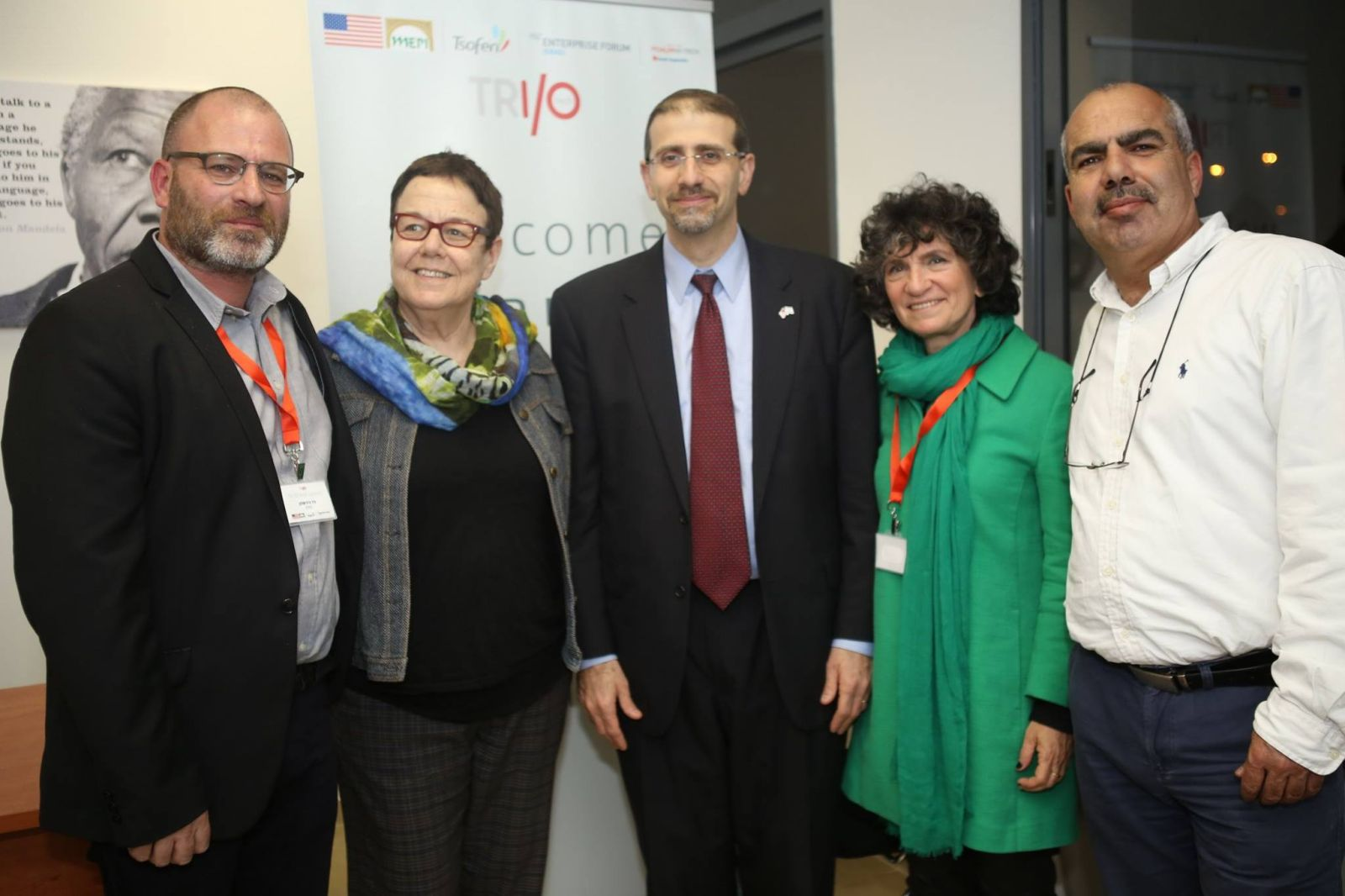 At the opening of TRI/O Tech hub were, from left, Paz Hirschmann, Smadar Nehab, US Ambassador Dan Shapiro, Ayla Matalon and Sami Saadi. Photo from Facebook