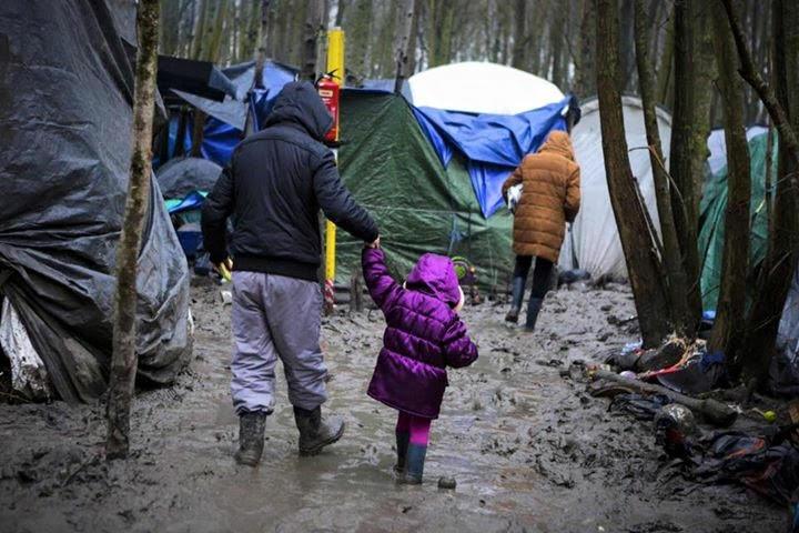Muddy paths through Dunkirk refugee camp. Photo by IsraAID