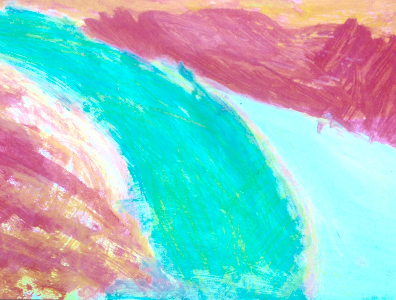 A visually impaired workshop participant did this painting with Shlomi Schwarzberg's guidance. Photo: courtesy