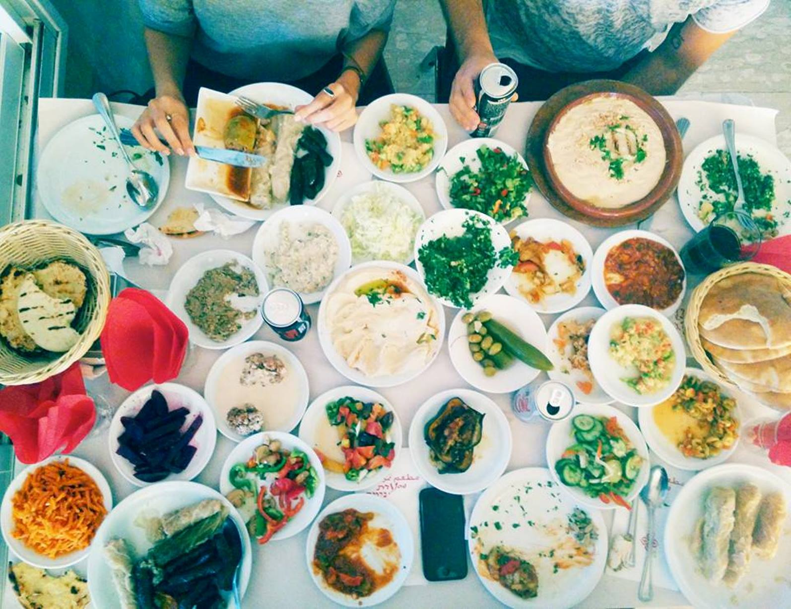 Diners at Nimer get a huge assortment of salads. Photo by Odin Shadmi