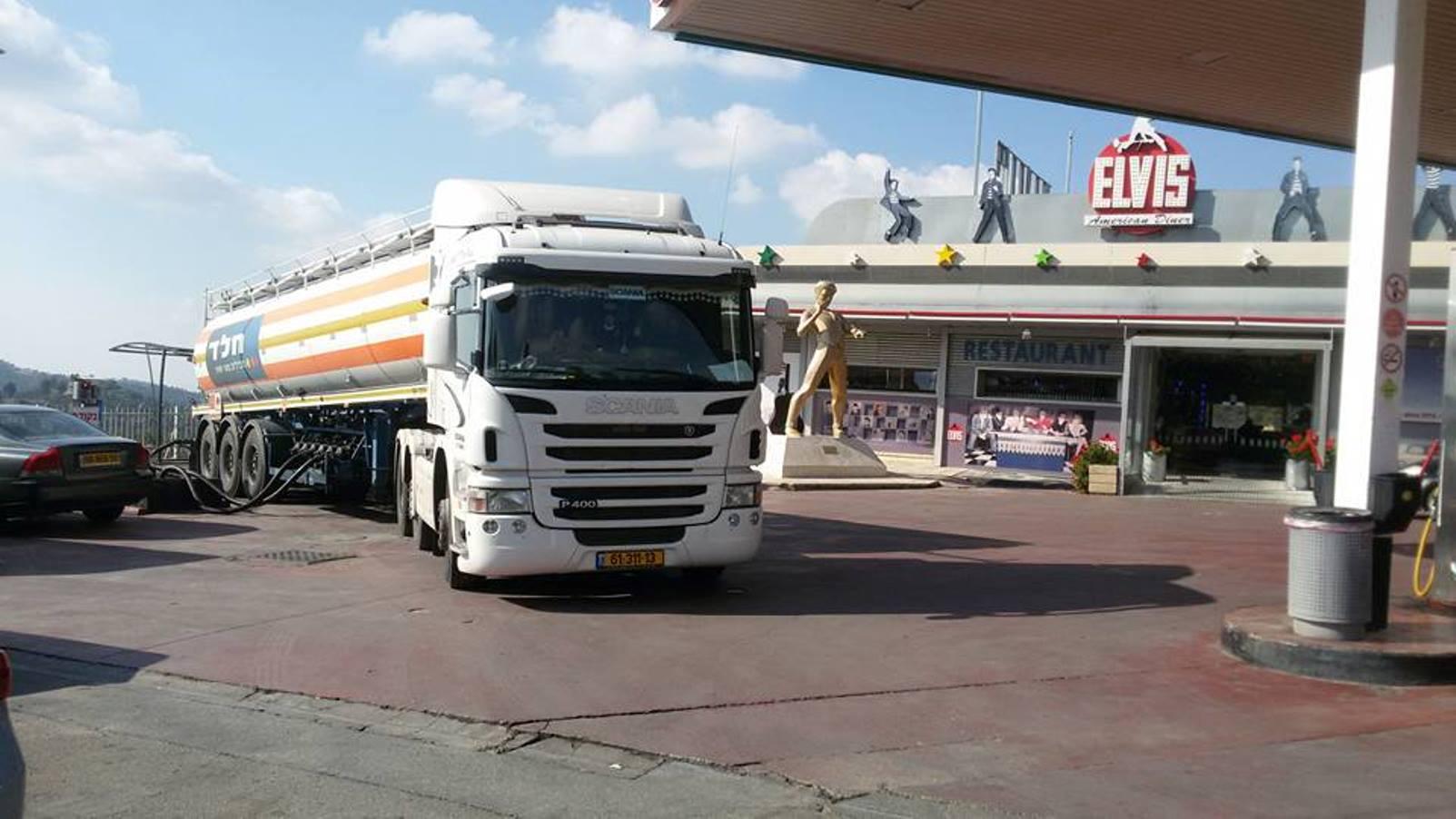 Elvis and petrol just outside Jerusalem. Photo by Lev Goldenberg/Facebook