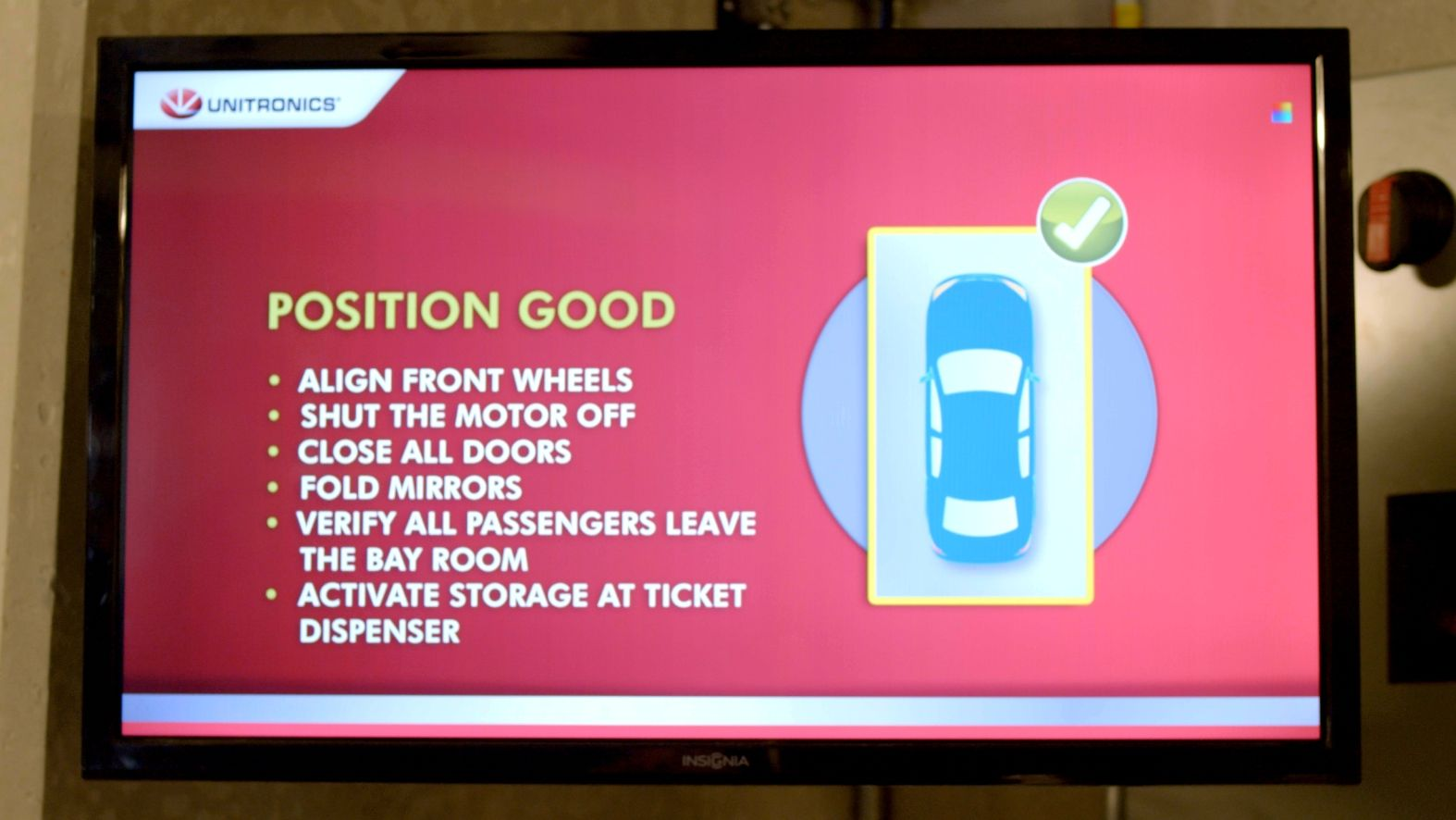 A screen gives drivers instructions in the entry bay. Photo: courtesy