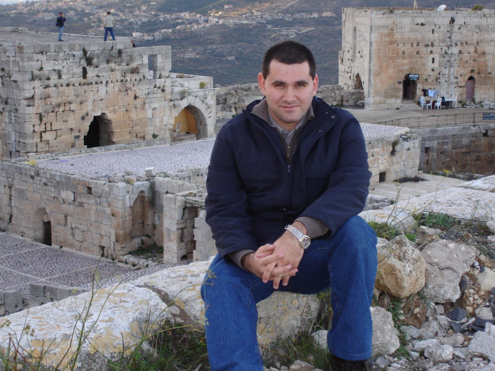 Aboud Dandachi at the 12th Century Krak des Chevaliers in Homs. In 2013, the Syrian government bombed this site, destroying what had been the world's best preserved Crusader Castle. Photo courtesy