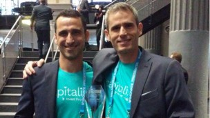 Shahar Rabin and Amir Shiovich, cofounders of Capitali.se, win Finovate Europe Best in Show. Photo via Twitter
