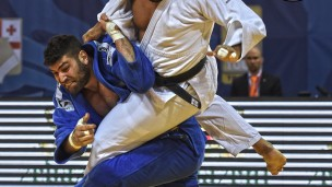 Judoka Or Sasson earns a victory over Dutch Roy Meyer, throwing him for yuko in the +100kg final at an earlier match in Tbilisi. Photo via IJF Media Team - Jack Willingham