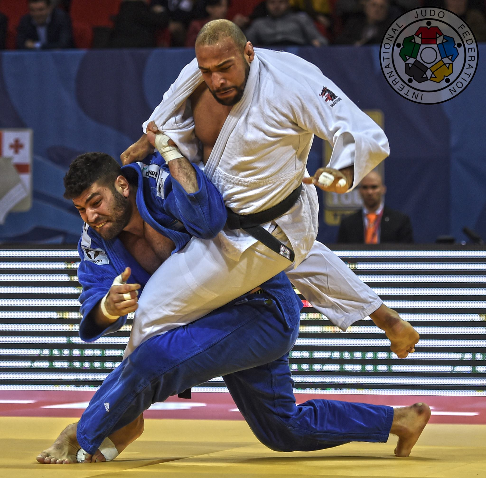 Judoka Or Sasson earns a victory over Dutch Roy Meyer, throwing him for yuko in the +100kg final at the Tbilisi Grand Prix 2016. Photo via IJF Media Team - Jack Willingham