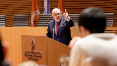Former New York City Mayor Rudolph Giuliani delivers an address to students at Ben-Gurion University of the Negev in Beersheva on March 15, 2016. Photo by Dani Machlis/BGU