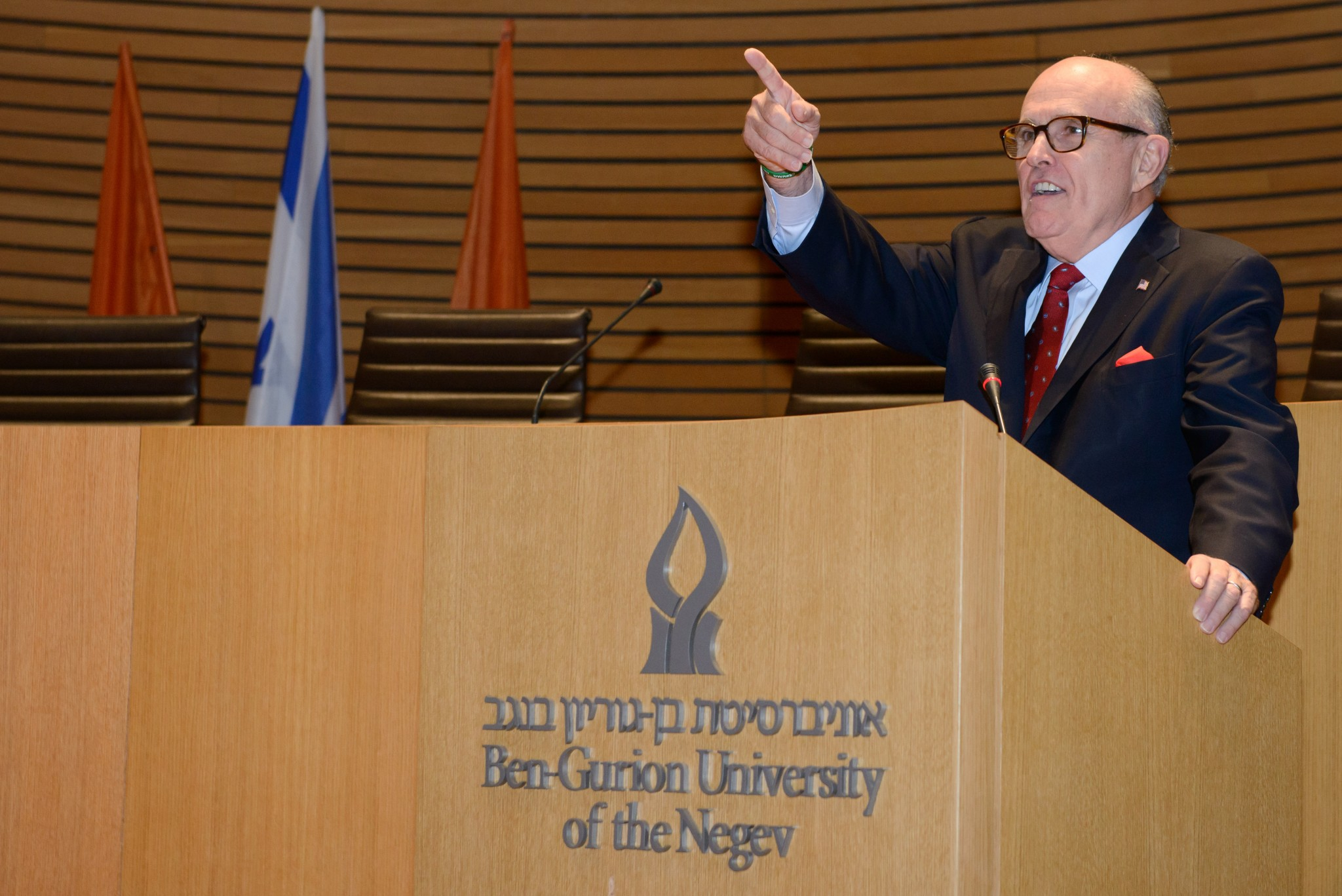 Rudolph Giuliani tells BGU students: Now I can see the future…You are at the forefront of not only the new applications of information technology and meta data but how we protect it. Photo by Dani Machlis/BGU