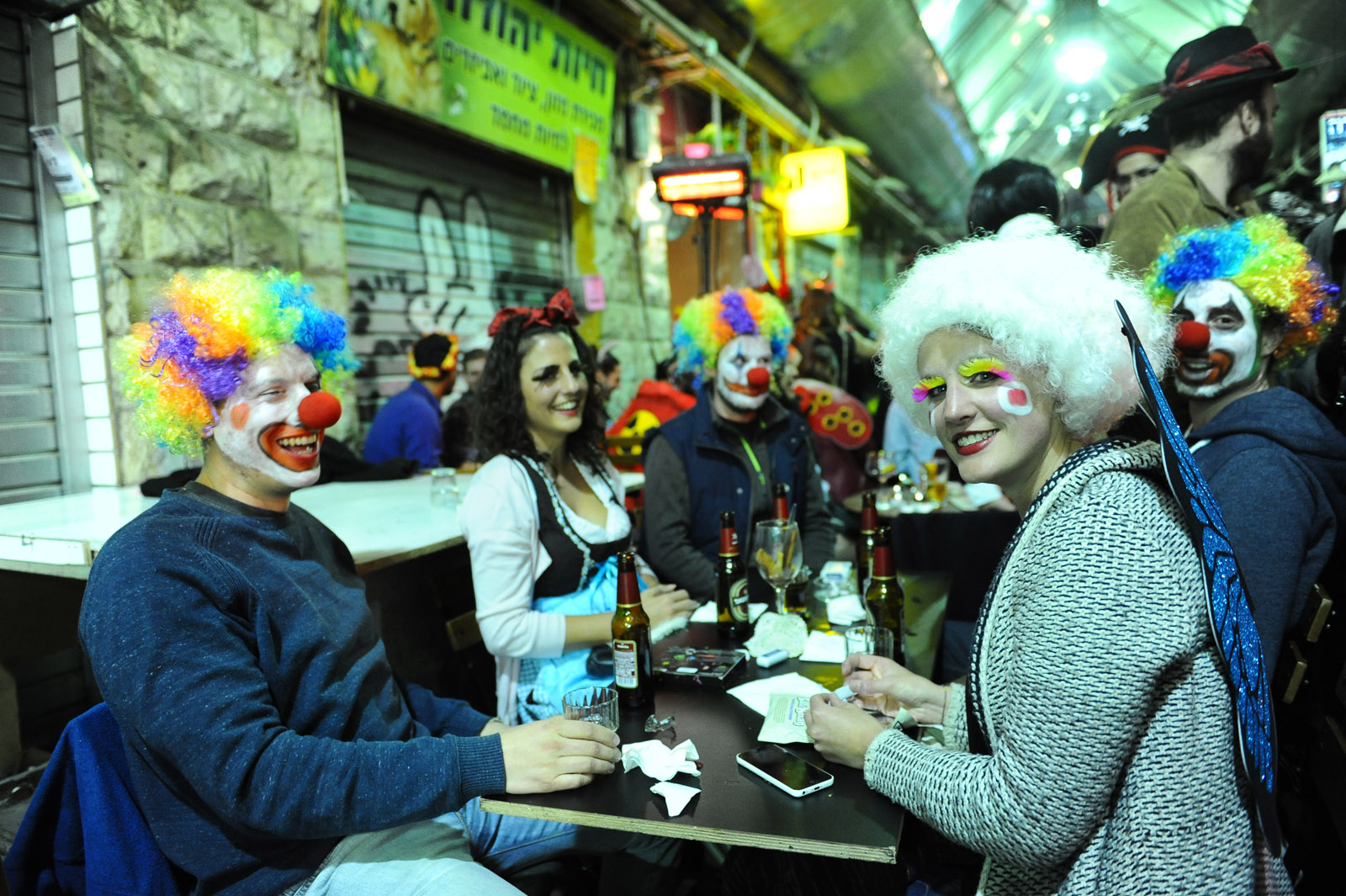 Israelis dressed up in costumes for the jewish holiday of Purim seen in central Jerusalem on March 5, 2015. Photo by Mendy Hechtman/Flash90