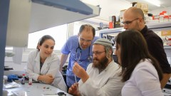 The BioDesign group that developed UCap, from left, Nitzan Guberman, Dr. Amir Orlev, Eliezer Keinan, Itay Monnickendam and Simi Hinden. Photo courtesy of Multimedia-The Hebrew University of Jerusalem