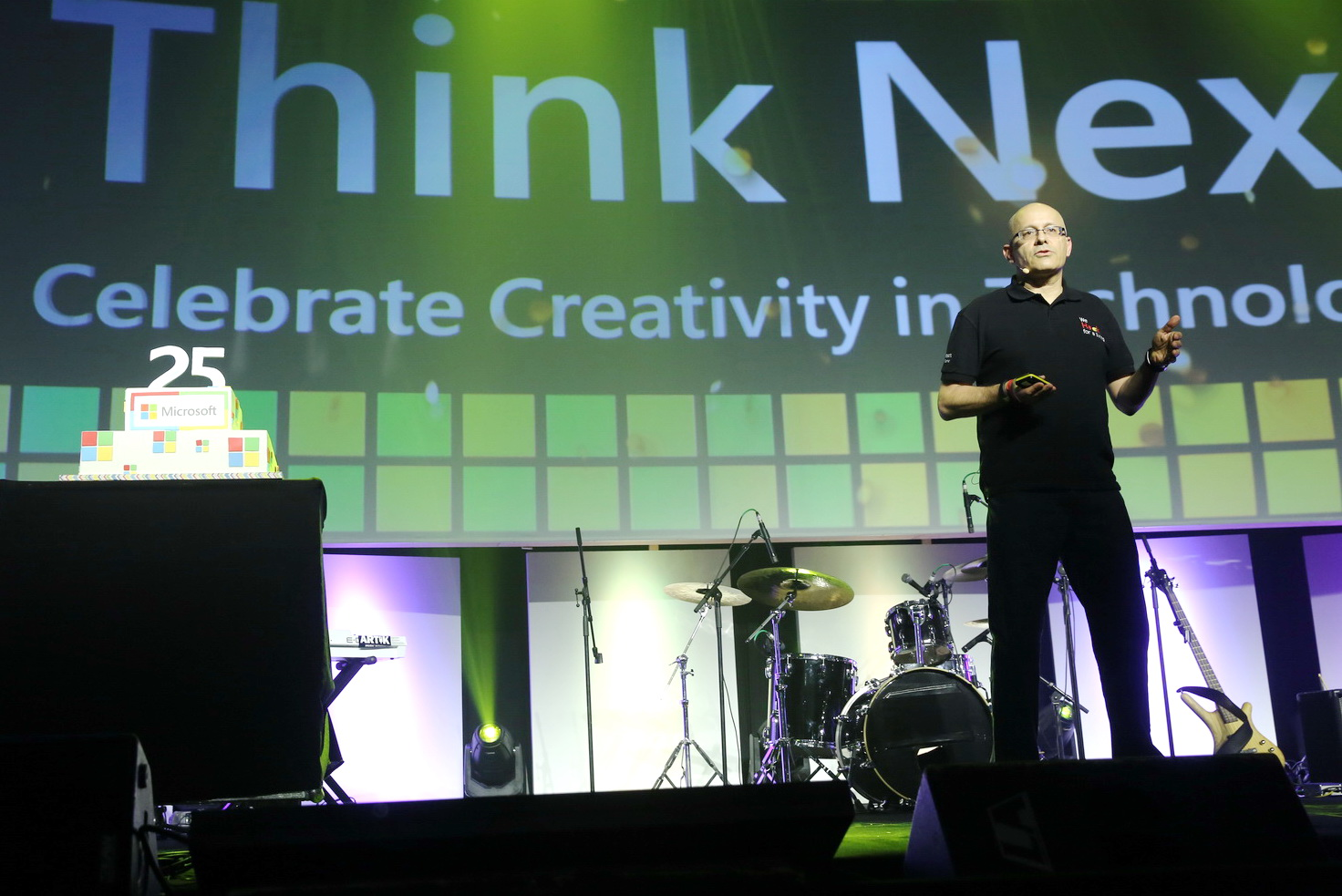 Yoram Yaacovi, general manager of Microsoft Israel's R&D Center, speaking at Think Next 2016. Photo by Koby Kantor