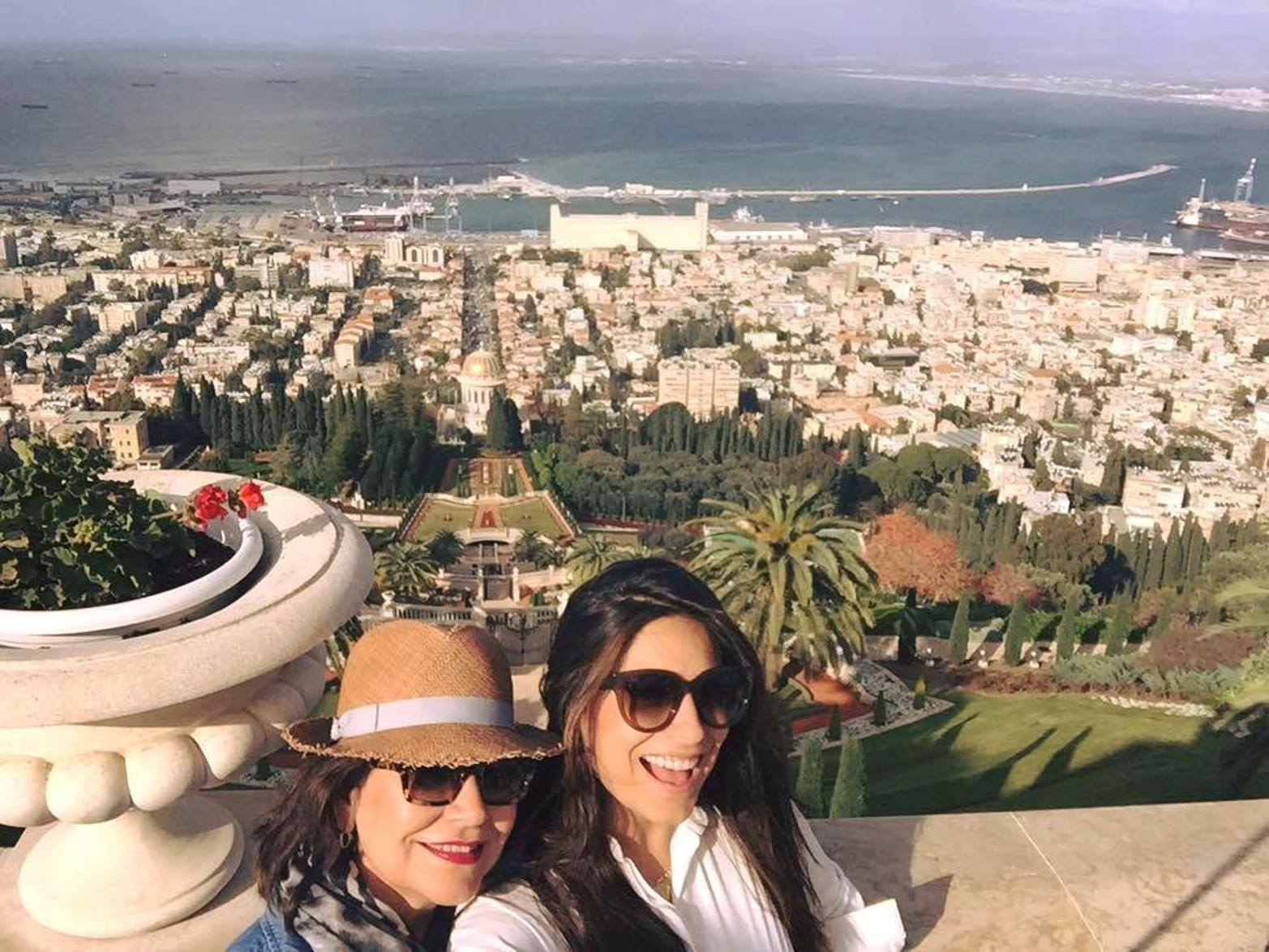 Ana Brenda Contreras took a selfie with her mother, Blanca, at Haifa's Baha'i Gardens. Photo via Facebook