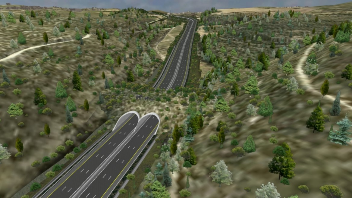 This artist's rendering of the future Highway 1 with its eco-bridge for animals playfully depicts elephants, though the animals living in the area really include deer, gazelles, wild boars, foxes, jackals, hyenas, porcupines and reptiles. Image courtesy of Netivei Israel