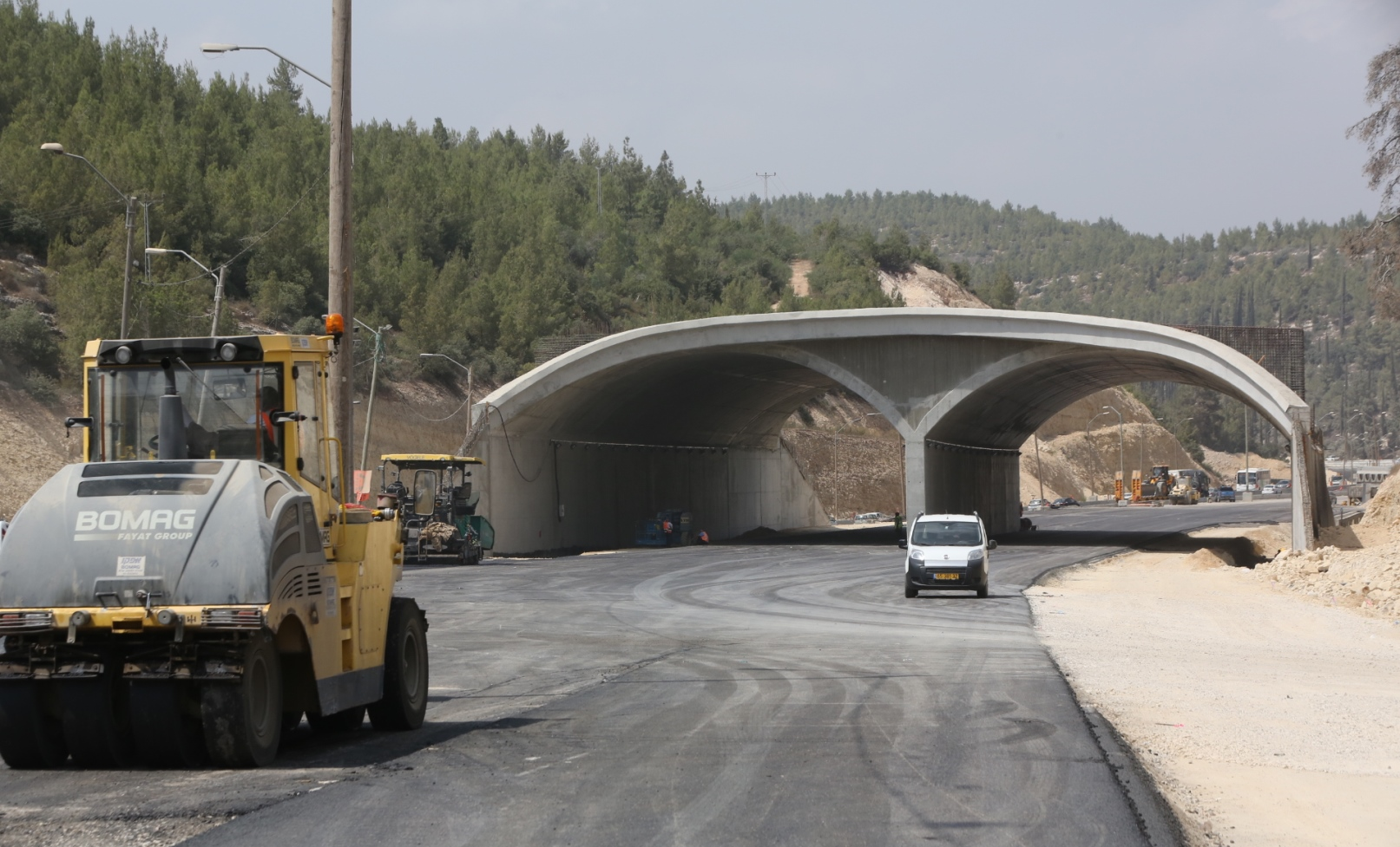 The body of the eco-bridge as seen in early 2016. Photo courtesy of Netivei Israel