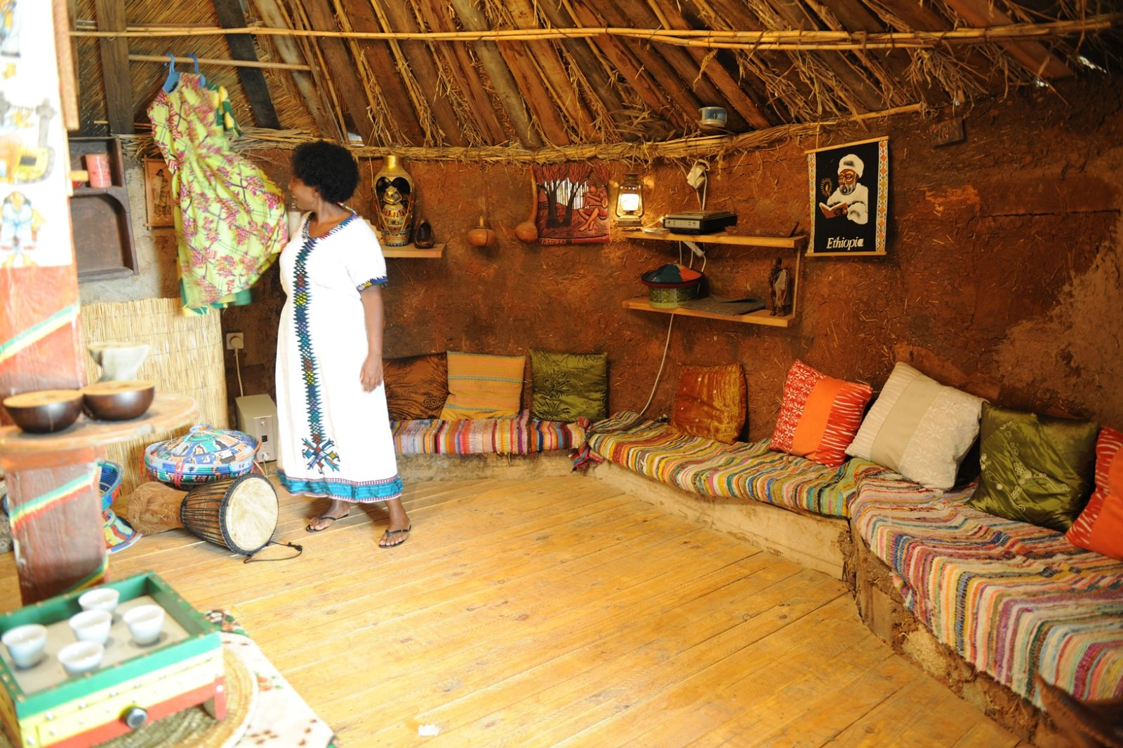 Yoney Skiba offers many hands-on activities in her recreated Ethiopian hut on Kibbutz Evron. Photo courtesy of Treasures of the Galilee