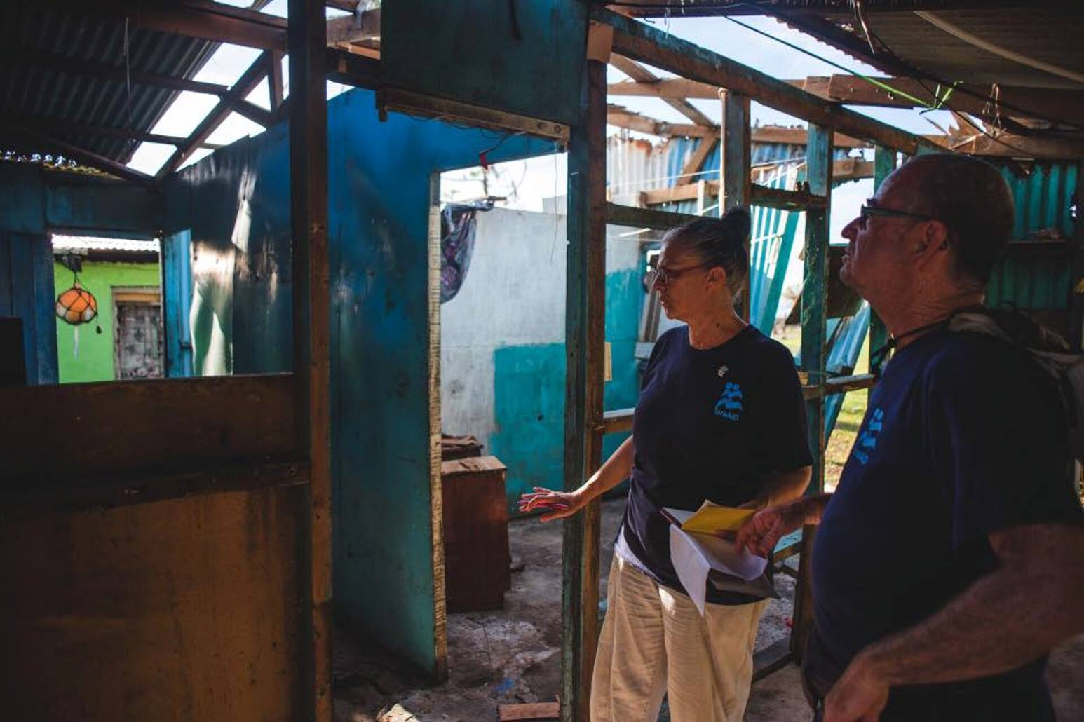 IsraAID volunteers assessing damage to a structure in Fiji. Photo via Facebook