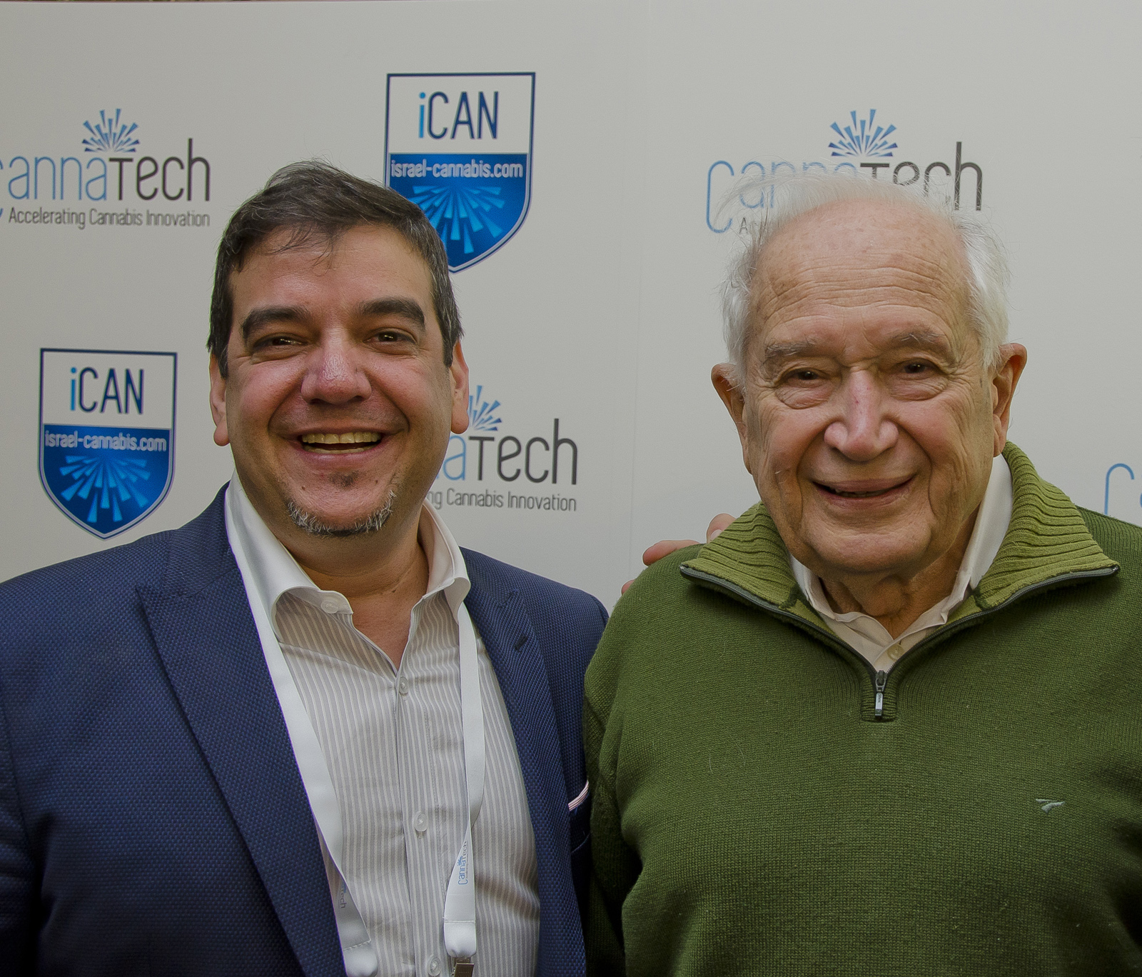 iCAN CEO Saul Kaye and Hebrew University Prof. Raphael Mechoulam at CannaTech 2016. Photo: courtesy