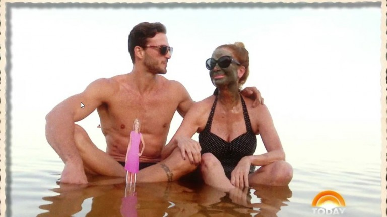 Today show's Kathie Lee Gifford in the Dead Sea with Israeli model and actor Michael Lewis (and a cutout of her co-host, Hoda Kotb). Photo: screenshot