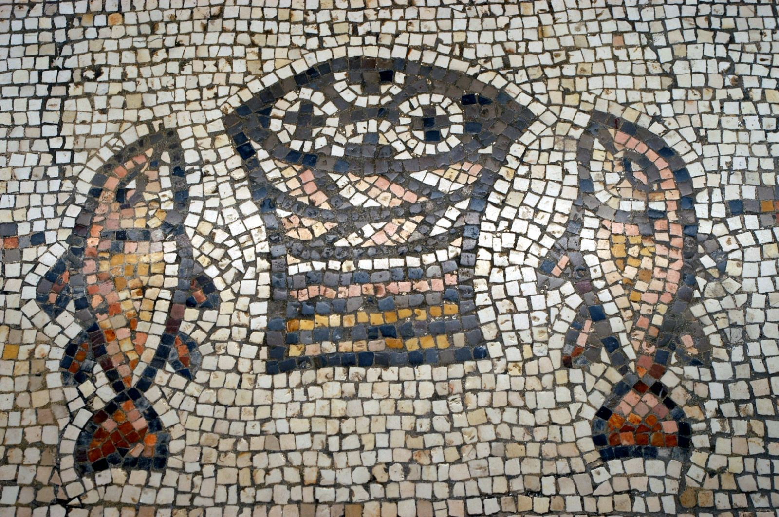 Byzantine mosaic symbolizing the miracle of the multiplication of the loaves and fishes. Photo courtesy of the Israel Ministry of Tourism