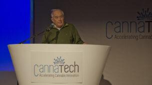 Professor Raphael Mechoulam addresses Canna Tech 2016. Photo courtesy