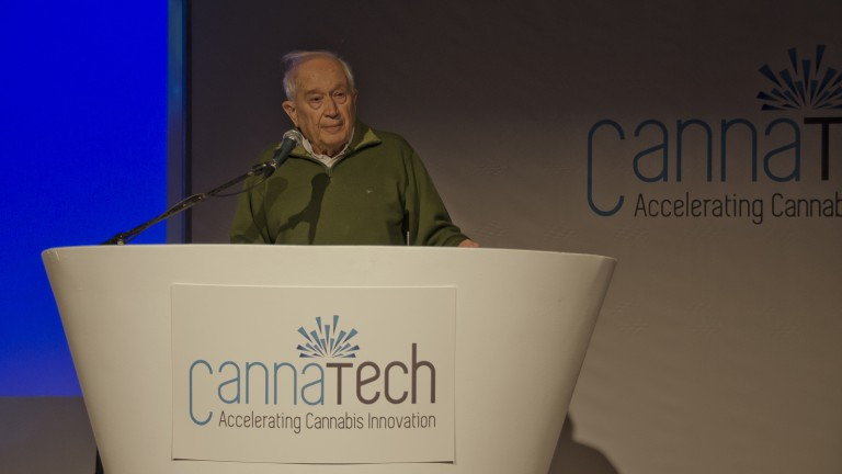 Professor Raphael Mechoulam addresses Canna Tech 2016. Photo courtesy