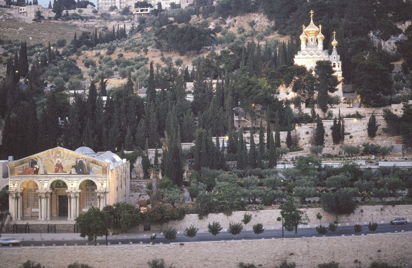 The Church of All Nations (Catholic), left, and Church of Mary Magdalene (Russian), right, on the Mount of Olives. Photo courtesy of Israel Tourism Ministry