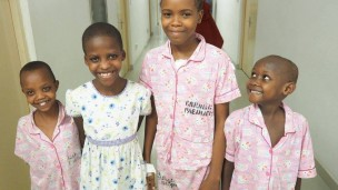 Tanzanian children are happy to be getting a new lease on life thanks to the Israeli medical team. Photo courtesy of SACH