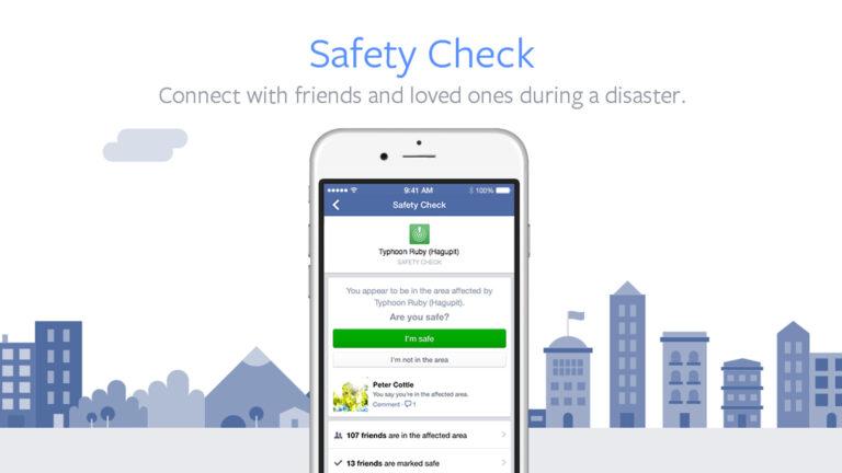 Facebook Safety Check app. Photo via screenshot