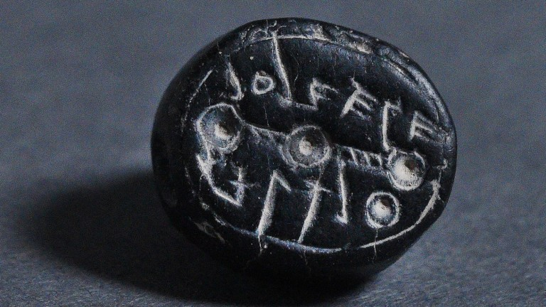 "A 2,500-year-old seal bearing the inscription ""to Elihana bat Gael."" Photo by Clara Amit/Israel Antiquities Authority"