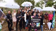Eurovision contestants plant trees in Israel. Photo by Avi Hayun