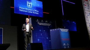 Yaniv Harel, general manager of the Cyber Solutions Group of EMC and head of research strategy at the ICRC in Tel Aviv University, at the International Cyber Security Conference. Photo: courtesy