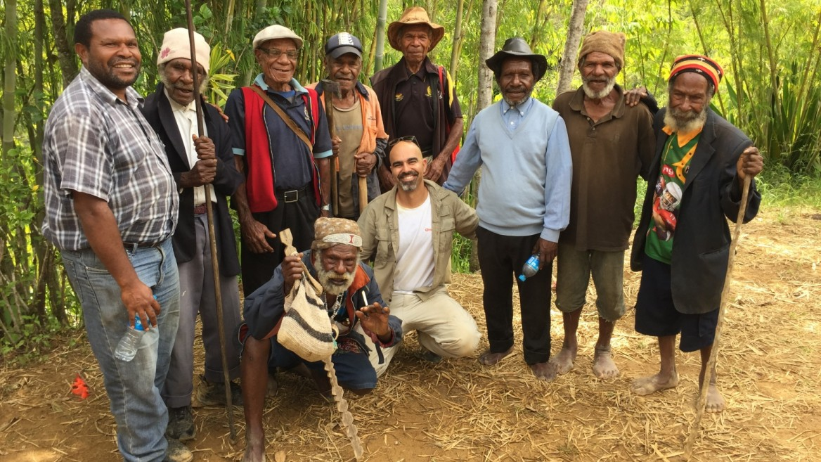 Golan Levi of MyHeritage with native peoples in Konom, the highlands of Papua New Guinea. Photo by Tamar Friedland