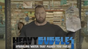 Hafthor 'Thor' Bjornsson promotes Heavy Bubbles. Photo via YouTube