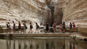 Tourists visiting Ein Avdat Nature Reserve near Kibbutz Sde Boker. Photo by Yaakov Naumi/Flash90
