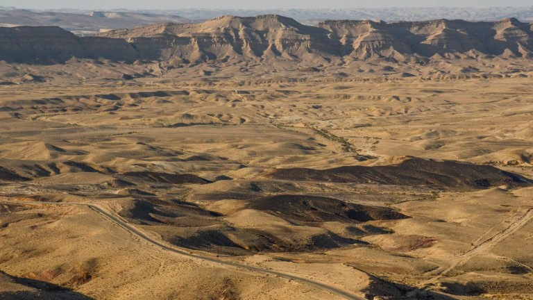 The Makhtesh Ramon Crater, formed naturally millions of years ago near Mitzpe Ramon in the Negev Desert. Photo by Zoe Vayer/Flash90