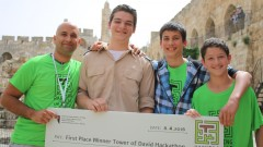 Zombie Rat with their first-place prize for VR/AR game Escape the Kishle. Photo courtesy of the Tower of David Museum