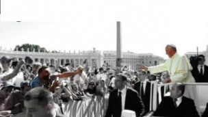 Pope Francis trades his white calotte with an Italian television host in the crowd of a Saint Peter's Square gathering in 2014. Photo via Catawiki