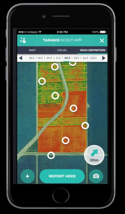 The Taranis app lets the farmer input daily observations to fine-tune the predictive capabilities. Photo: courtesy