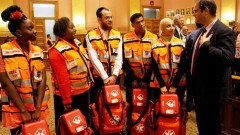 United Hatzalah founder Eli Beer with the first graduating class of volunteer first-responders in Jersey City. Photo by Yadin Goldman