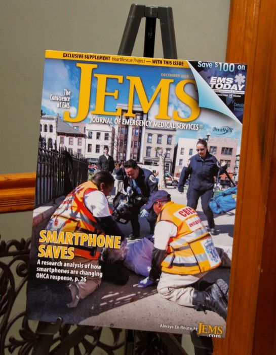 Cover of JEMS depicting activities of United Rescue in Jersey City on display at the EMS Today conference in Baltimore. Photo by Yadin Goldman