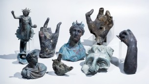 The rare bronze artifacts that were discovered in Caesarea. Photo by Clara Amit, courtesy of the Israel Antiquities Authority
