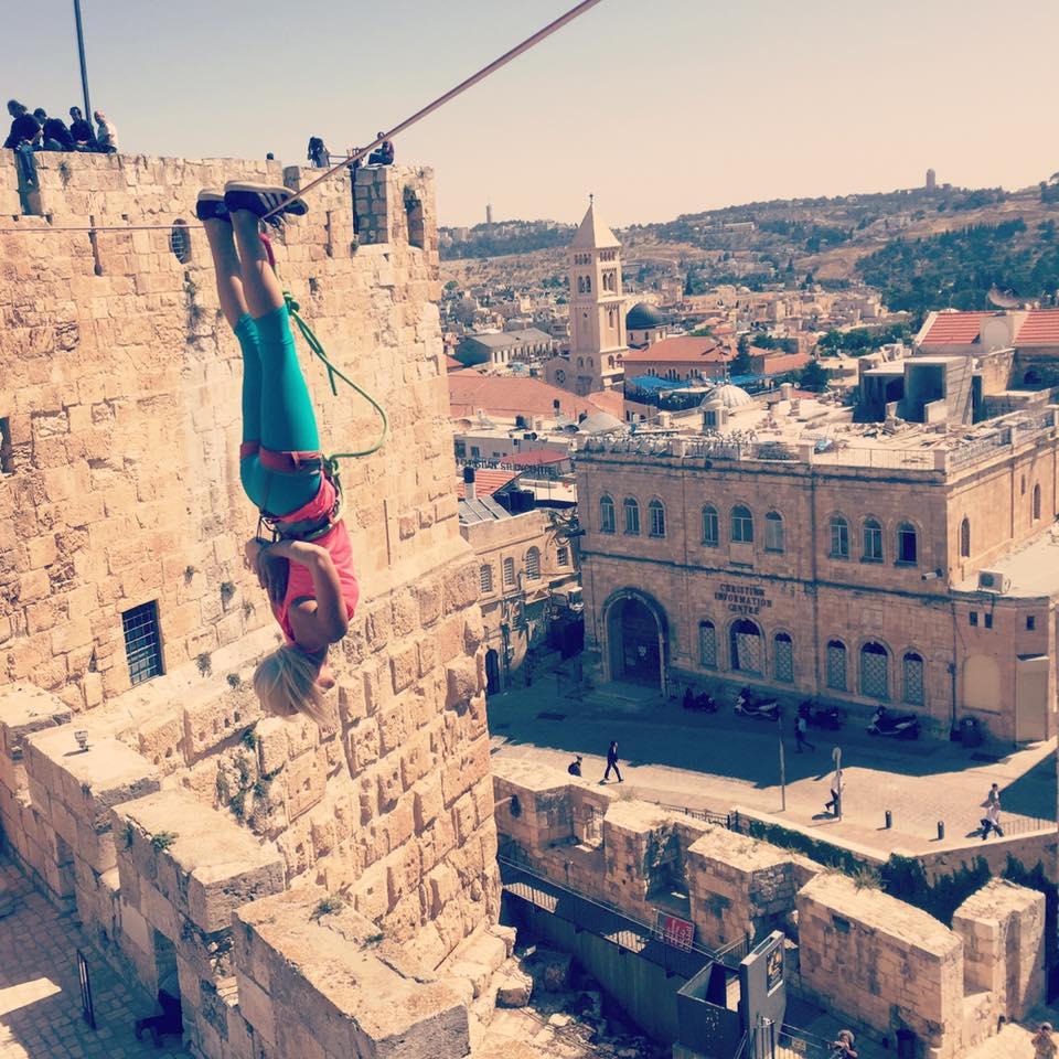 Heather Larsen hangs above history in Jerusalem's Old City. Photo via Facebook
