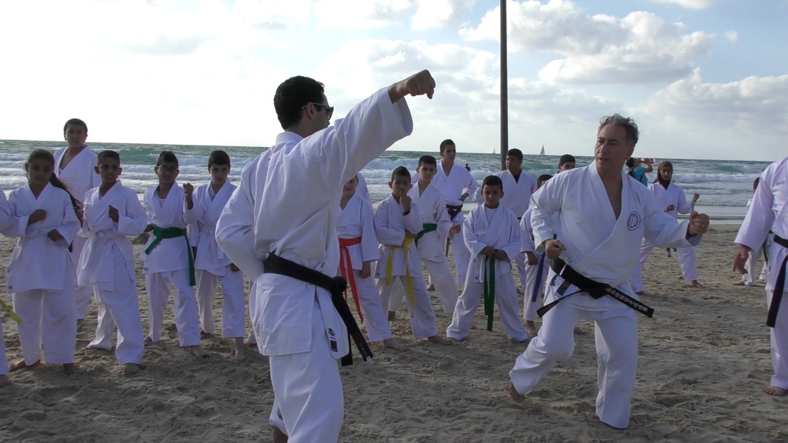 Danny Hakim, right, and a Budo for Peace instructor from the Galilee giving a demo for children. Photo courtesy of Budo for Peace