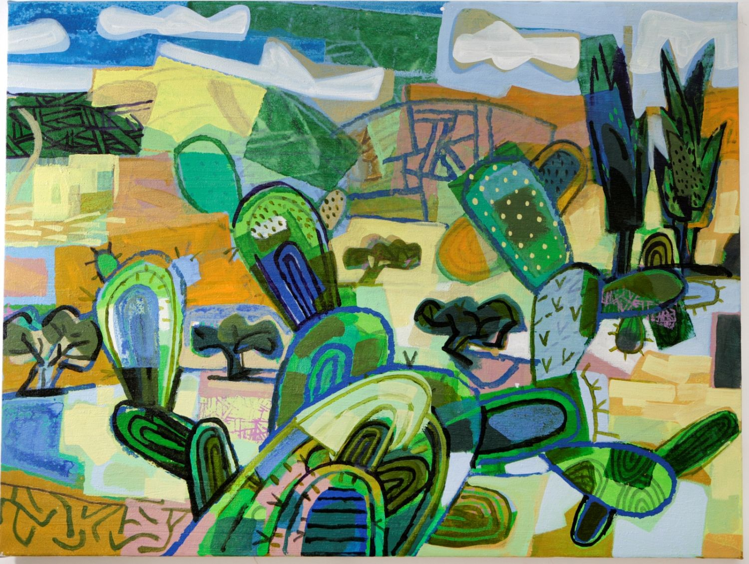 David Gerstein's drawing of cacti in Israel's Elah Valley. Photo: courtesy